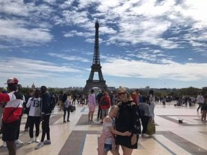 France holiday - Kate and Abi in front of the Eiffel Tower Paris
