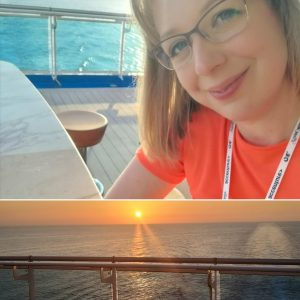 Kate at Sunset onboard Sky Princess Adriatic Sea Greece October